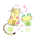 Frog and cat lovers Royalty Free Stock Photo
