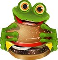 Frog with cheeseburger illustration merry green a delicious Royalty Free Stock Photo