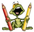 Frog with crayons Royalty Free Stock Images