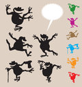 Frog dancing with blank speech bubbles easy to edit color smooth and detail curve silhouettes Royalty Free Stock Photography
