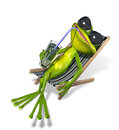 Frog in a deckchair green with drink on sun lounger Stock Photo
