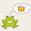 Frog dreaming about crown vector illustration