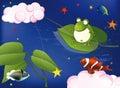 Frog on fishing Royalty Free Stock Photo
