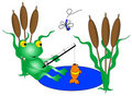 Frog Fishing Royalty Free Stock Photo