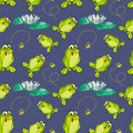 Frog and flies vector image abstract seamless pattern Royalty Free Stock Photos