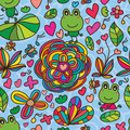 Frog flower line drawing seamless pattern