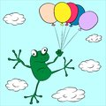 Frog flying through the sky on balloons vector illustration