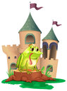A frog in front a castle illustration of of on white background Royalty Free Stock Photo