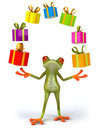 Frog and gifts Royalty Free Stock Photos