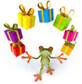 Frog and gifts Stock Image