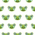 stock image of  Frog head seamless vector pattern. Cute green animal bold print on white background.