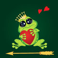 Frog with heart and arrow on green . Stock Photography