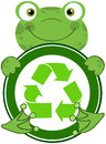 Frog hugging banner with recycle symbol happy Royalty Free Stock Photography
