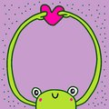 Frog hugs heart hand drawn vector illustration in cartoon style empty space for banner print poster love message