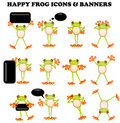 Frog  icons with blank sign design elements Stock Images
