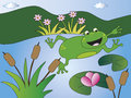 Frog illustration of in a pond Royalty Free Stock Photography