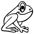 Frog illustration sitting and looking at the top Stock Photo