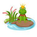 The frog king on a white background,vector Royalty Free Stock Photo