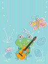 Frog music eps illustration play guitar card this file info version illustrator document inches width height document color mode Stock Images