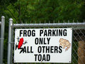 Frog parking only all others toad a sign at the henry villa zoo in madison wisconsin which is part of dane county that says it has Stock Photo
