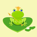Frog prince cartoon character waiting to be kissed holding arrow Stock Image