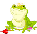 Frog prince waiting to be kissed Stock Images