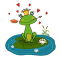 Frog princess with crown and arrow on water lily vector illustration Stock Photo