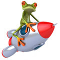 Frog and rocket d generated illustration Stock Image