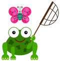A frog s hobby an illustration of with net and trying to catch butterfly Stock Image