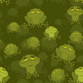 Frog seamless pattern green toad in swamp many amphibious anim animal texture reptile Stock Image