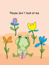 Frog shame illustration abstract flowers background Stock Photos