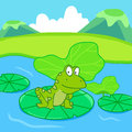 Frog sits on lotus leaf background illustration Stock Photos