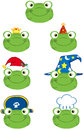 Frog smiling heads collection happy Royalty Free Stock Images