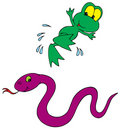 Frog and Snake (vector clip-art) Royalty Free Stock Photo
