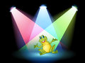 A frog on the stage with spotlights illustration of Royalty Free Stock Images