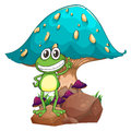 A frog standing above the rock below the giant mushroom illustration of on white background Royalty Free Stock Image