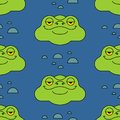 Frog in swamp pattern seamless. Toad background. Baby cloth texture. vector ornament