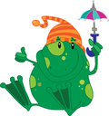 Frog with umbrella green an Stock Images