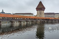 Froggy morning over Chapel Bridge and Reuss River, Lucerne Royalty Free Stock Photo
