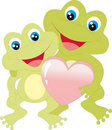 Frogs with heart Stock Image