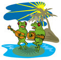 Frogs singing and playing guitar Stock Photo
