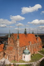 Frombork cathedral aerial view with vistula lagoon in background Royalty Free Stock Photography