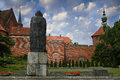 Frombork nicolaus copernicus poland july statue in front of the cathedral built in gothic style Royalty Free Stock Photography