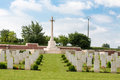 Fromelles military cemetery view of the pheasant wood in the north of france with the cross of sacrifice terrace Royalty Free Stock Photo