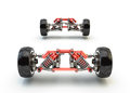 Front axle with suspension and sport gas absorbers isolated on white Stock Images