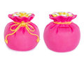 Front and back of Pink money bag and gold rope. Royalty Free Stock Photo