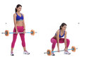 Front barbell squat step by step instructions position yourself under a held by a rack keeping your elbows high place your arms up Royalty Free Stock Photo