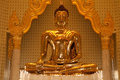Front of biggest golden buddha statue in trimit temple thailand Stock Image