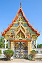 Front Buddhist temple in sunlight Royalty Free Stock Photos