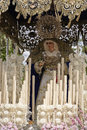 Front with candles embroidered fabric and flowers of the throne of the nuestra senora del amor hermoso linares jaen province spain Royalty Free Stock Photos